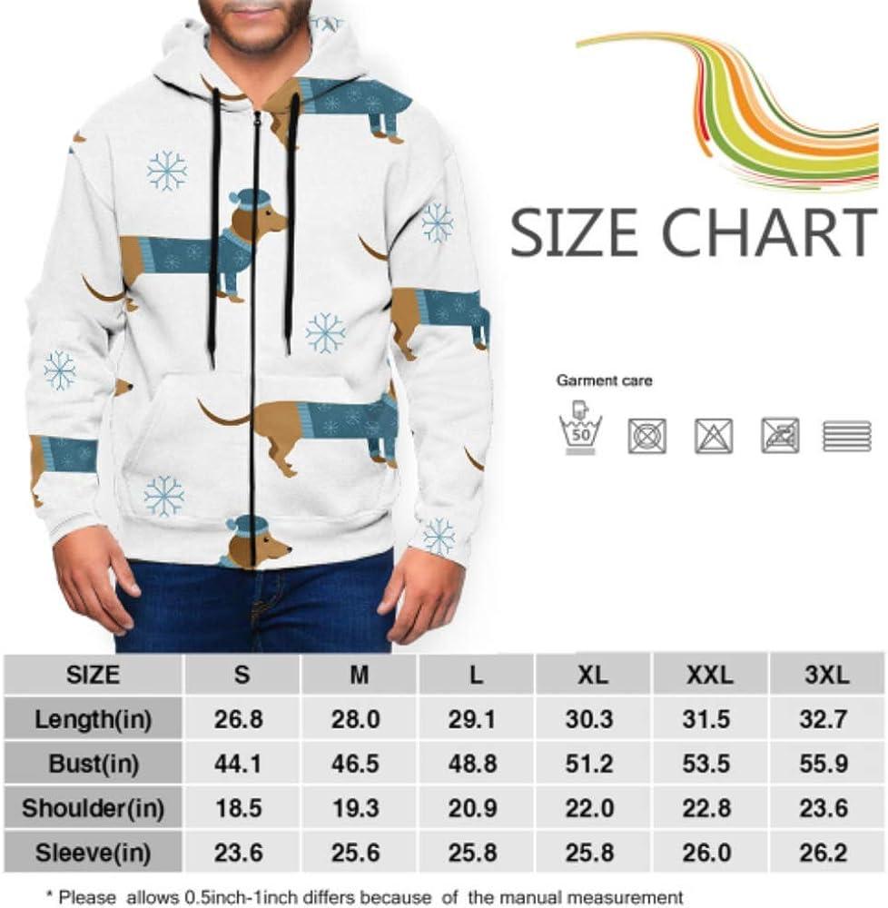 Long Sleeve Hoodie Print Cartoon Winter Dachshund Dogs Hat Sweater Jacket Zipper Coat Fashion Mens Sweatshirt Full-Zip S-3xl