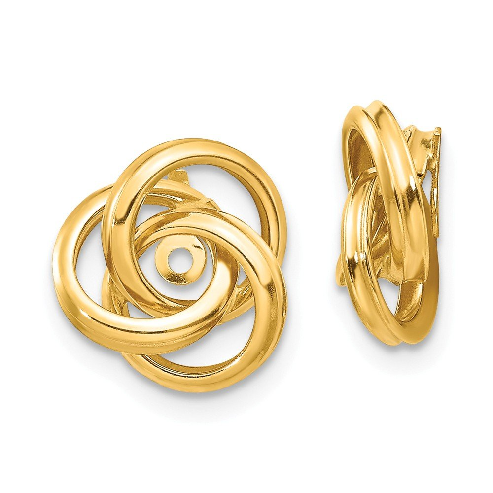 14K Yellow Gold Polished Love Knot Earring Jackets - (0.47 in x 0.39 in) by Jewel Tie
