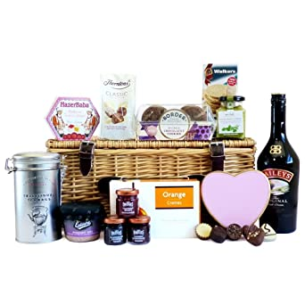 Luxury 70cl baileys and fine food hamper presented in a wicker luxury 70cl baileys and fine food hamper presented in a wicker gift basket gift ideas negle Choice Image