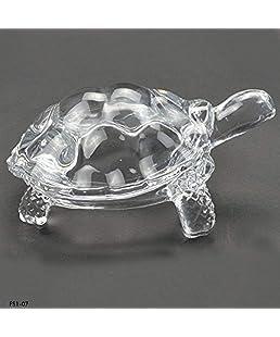 Ocasa Retails Glass Turtle Tortoise for Feng Shui and vastu Sastra- Wealth Sign Statue Showpiece (Transparent)