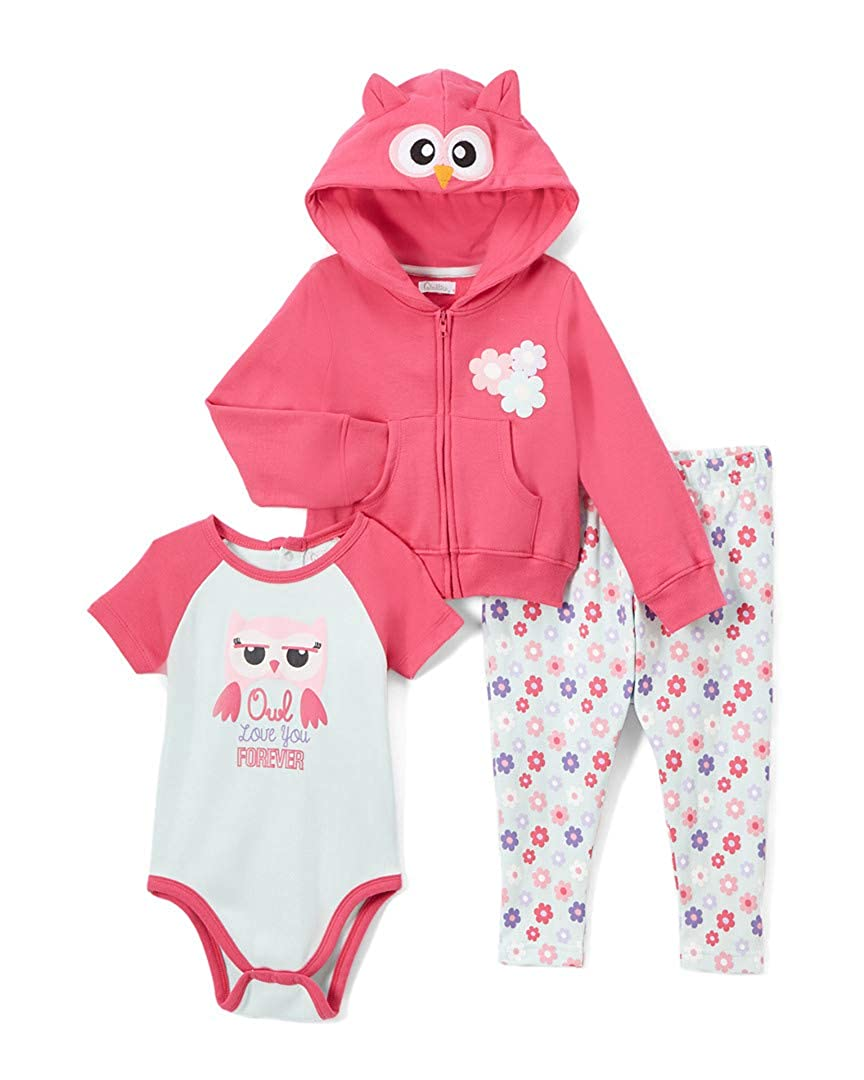 Quiltex Girls Toddler Owl Footed Leggings Hoodie and Creeper 3pc Set QNG94034