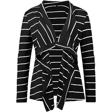 Gatied Women Casual Cardigans Long Sleeve Striped Asymmetrical Hem Cardigan