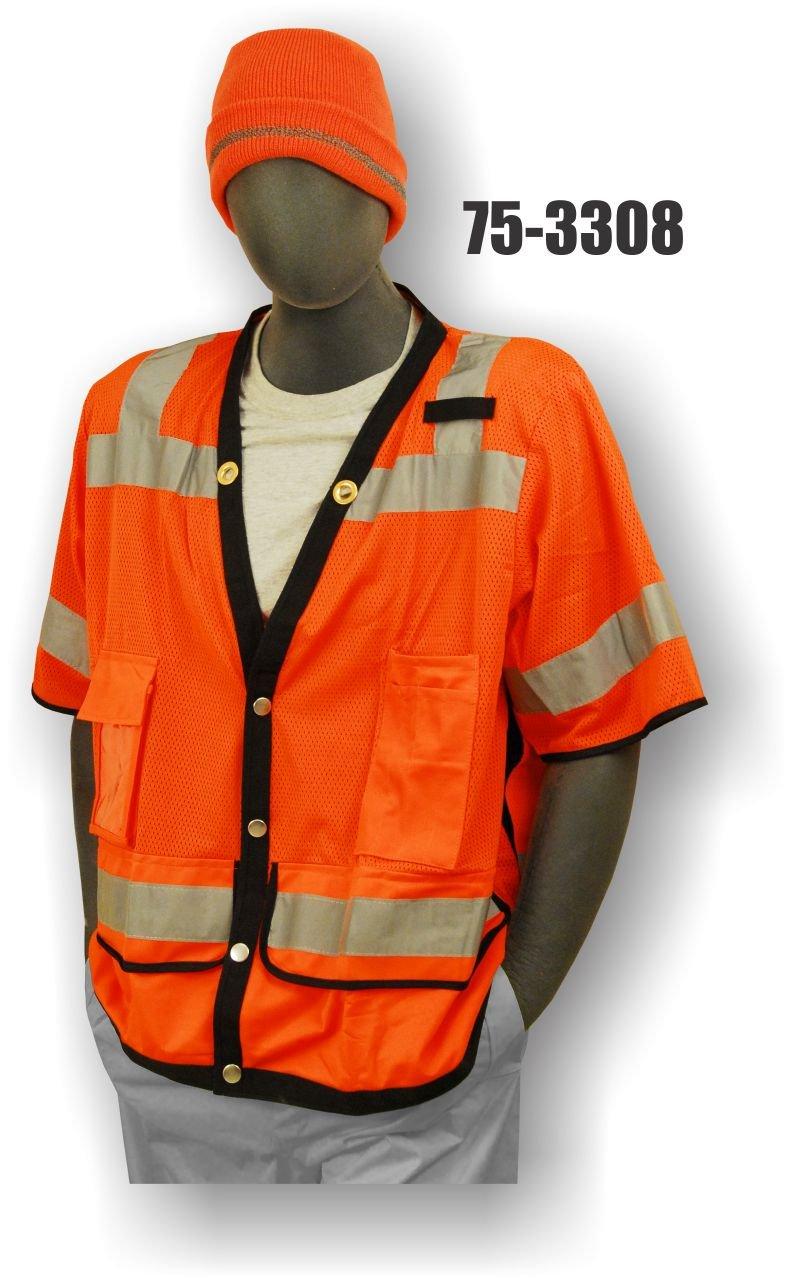 High-Vis Majestic Glove 75-3308//X3 Heavy Duty Vest Orange Majestic Gloves 3X-Large Class 3