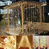 Ucharge Curtain Lights, 300 LED 29V Waterproof String Lights with 8 Lighting Modes for Christmas Party Wedding etc.( Warm White)