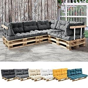 [en.casa] 1x Coussin de siège pour canapé d'euro Palette [Gris Brilliant] Coussins de palettes in/Outdoor Rembourrage…
