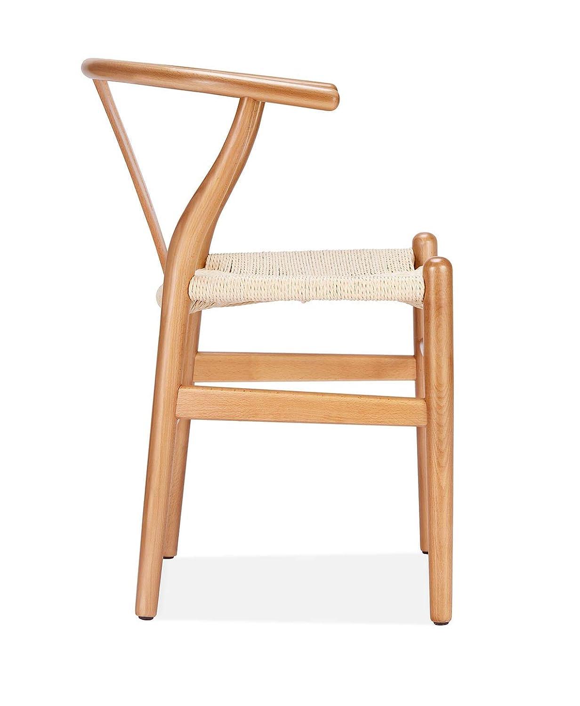Amazon.com: Silla Wishbone – Asiento de haya y cordón ...