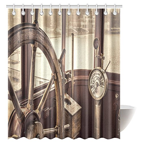 Sepia Wheel Ships - InterestPrint Retro Sepia Toning Decor Shower Curtain, Steering Wheel and Engine Controls on a Vintage Ship Bridge Bathroom Shower Curtain with Hooks, 72 X 84 Inches Extra Long