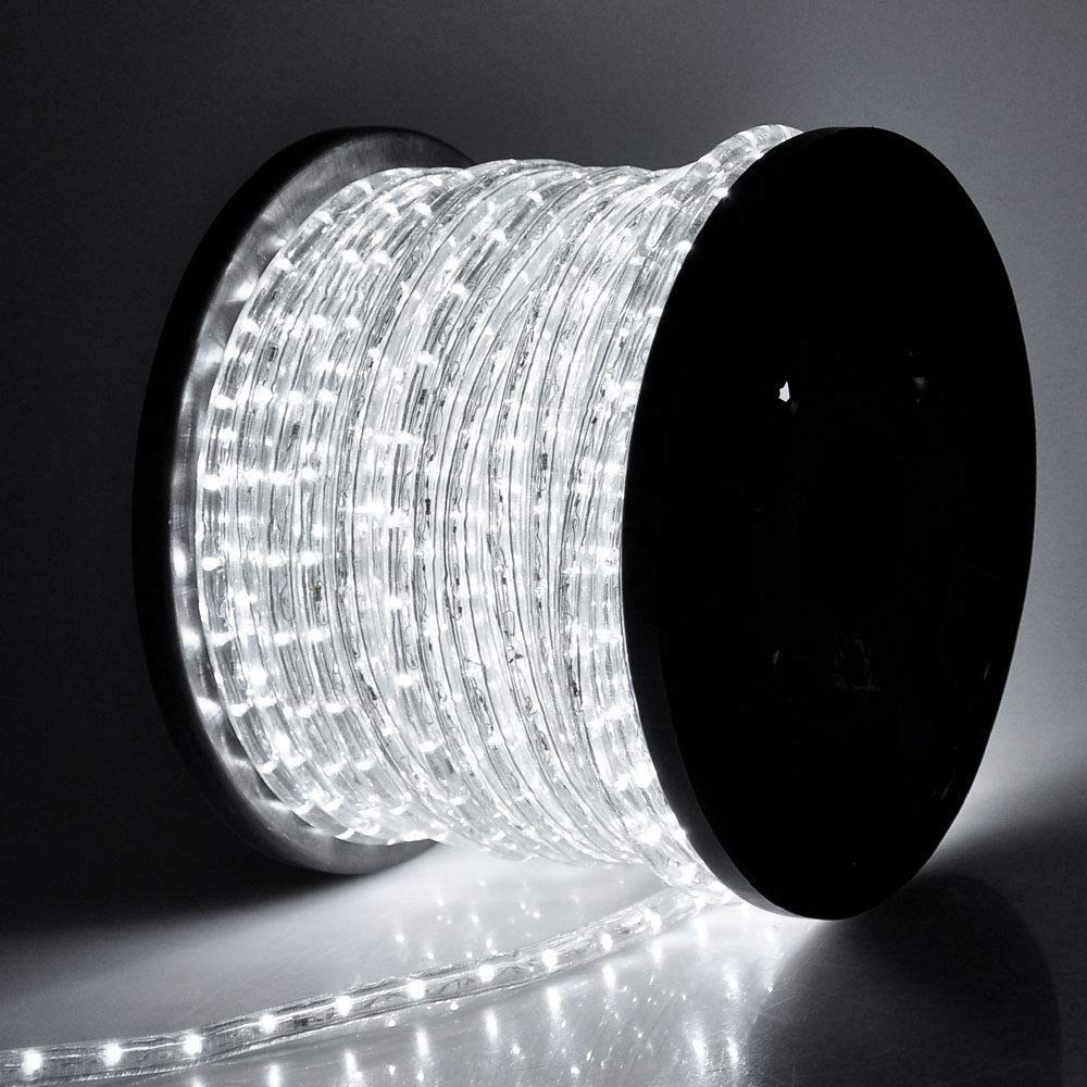 WYZworks 150 feet 1/2'' Thick Cool White Pre-Assembled LED Rope Lights with 10', 25', 50', 100' Option - Christmas Holiday Decoration Lighting | UL Certified