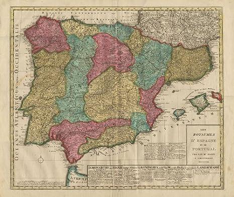 Antiguo ThePrintsCollector mapa de España-Portugal-Mallorca-Elwe-1808: Amazon.es: Hogar