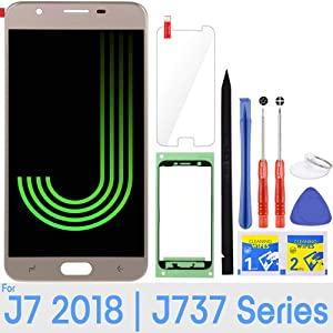 J7 Screen Replacement LCD Display Touch Digitizer Assembly for Samsung Galaxy J7 2018 SM-J737 J737A / J7 Refine 2018 J737P / J7 Crown S767VL /J7 Aero/ J7 V 2018 J737V J7 Star 2018 J737T (Gold)