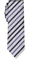 cravate soie rayée stripe silver steel