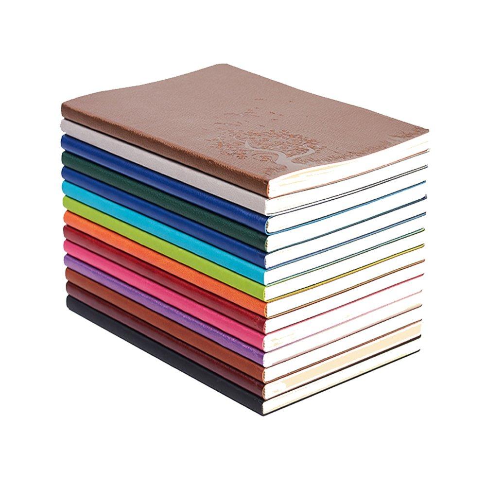 Debon A5 commerciale viaggio notebook, dolcemente Journal, cancelleria ufficio giornaliera con copertina in pelle PU con pressati Patterns & colore casuale 4 pacchi