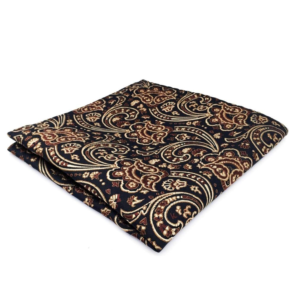 Shlax/&Wing Brown Light Black Pocket Square For Men Jacquard Woven Mens Hanky