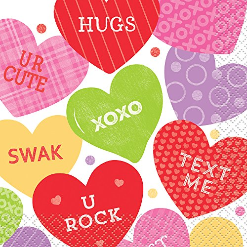 Candy Valentine's Day Beverage Napkins, 16ct ()