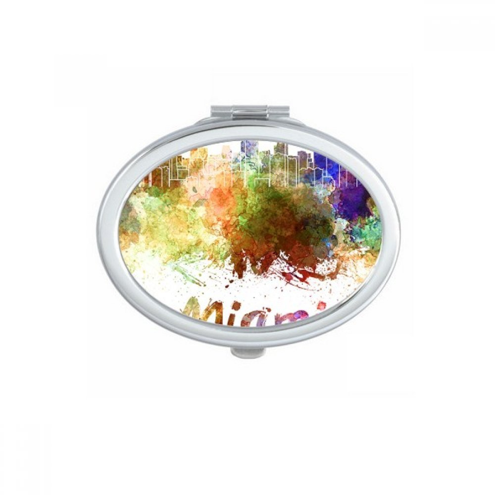 Miami America Country City Watercolor Illustration Oval Compact Makeup Pocket Mirror Portable Cute Small Hand Mirrors Gift