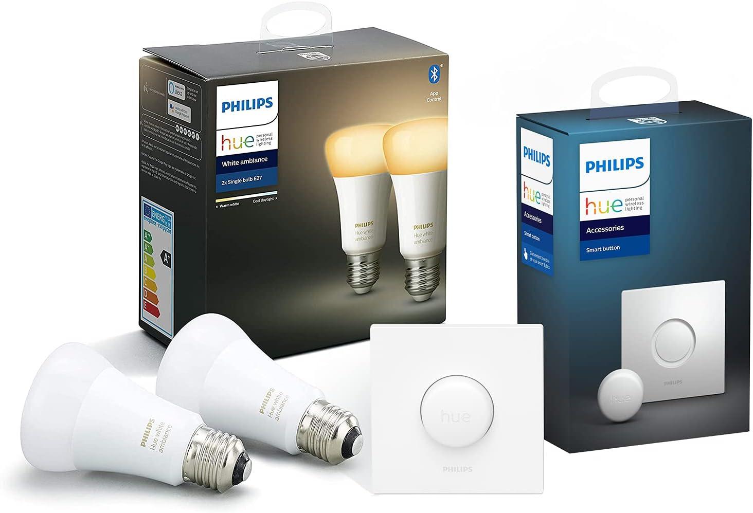 Philips Hue Pack de 2 Ampoules LED Connectées White Ambiance E27 Compatible...