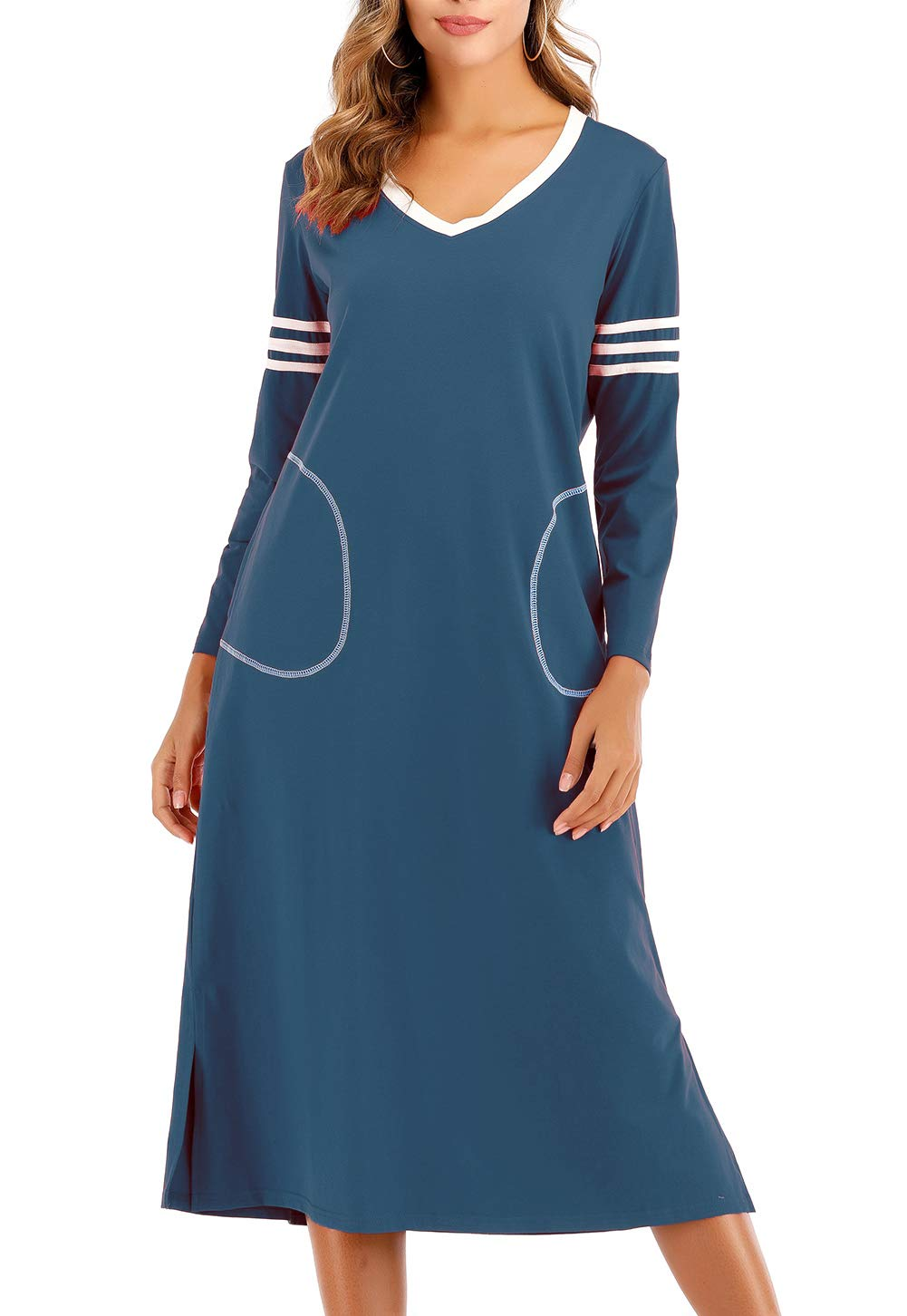 AOVXO Long Nightgown Womens V Neck Long Sleeve Nightshirt Ultra-Soft Cotton Fabric Split Hem Design with 2 Side Deep Pockets (Blue, M)