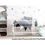 """I-love-Wandtattoo WAS-10454 Kinderzimmer Wandsticker Set """"Pastell Sterne in tollen Blau und Grün Farbtönen"""" 25 Stück Sternenhimmel zum Kleben Wandtattoo Wandaufkleber Sticker Wanddeko"""