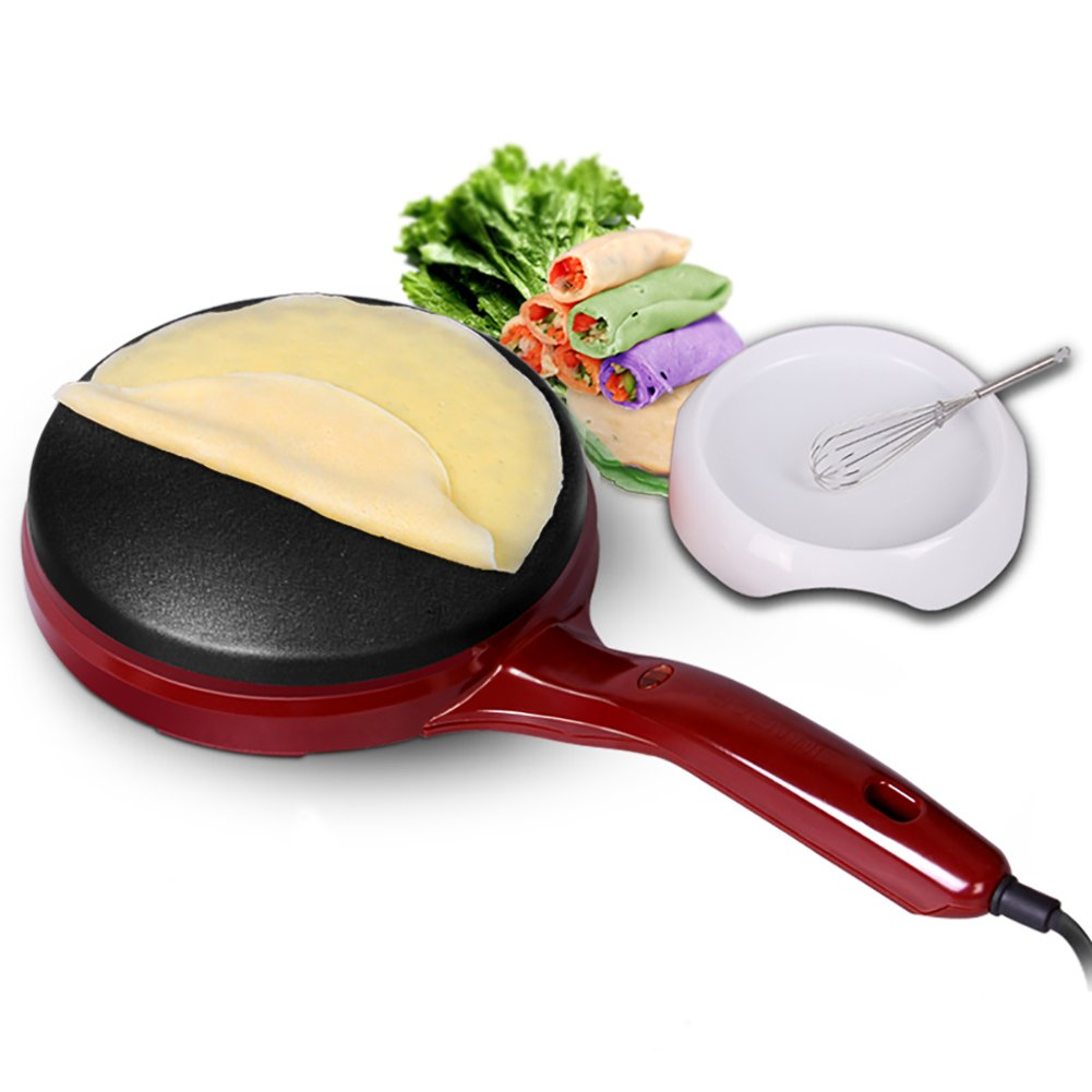 DULPLAY Crepe maker pan,Machine,Electric griddle,Red,600w 100% non-stick surface Pan style hot plate cooktop with on Off switch -A 39.5x21x5cm(16x8x2inch)