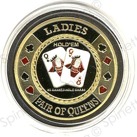 Ladies Pair of Queens Gold Poker Card Guard (Gold Poker Chip)
