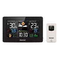 Excelvan PT3388 Station Météo sans Fil Professionnelle Grand Écran Couleur LCD Snooze Alarm USB Port 60m/200ft Range Noir
