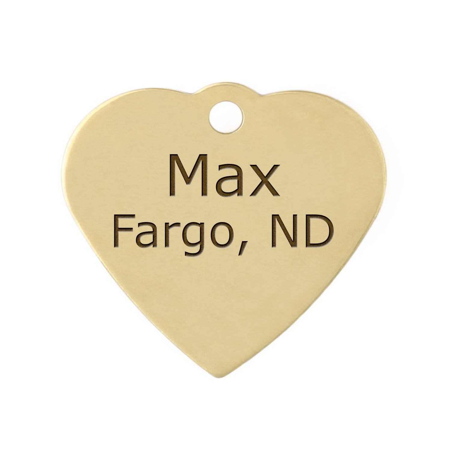Double Sided Brass Heart Dog ID Tag - Personalized Laser Engraving with S-Hook and Split Ring