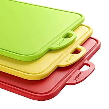 zanmini Cutting Boards for Kitchen, Color-Code Chopping Boards Set of 3, with Non-Slip Feet and Handing Hole Stand, Dishwasher-Safe, BPA-Free, FDA Approved, Eco Friendly