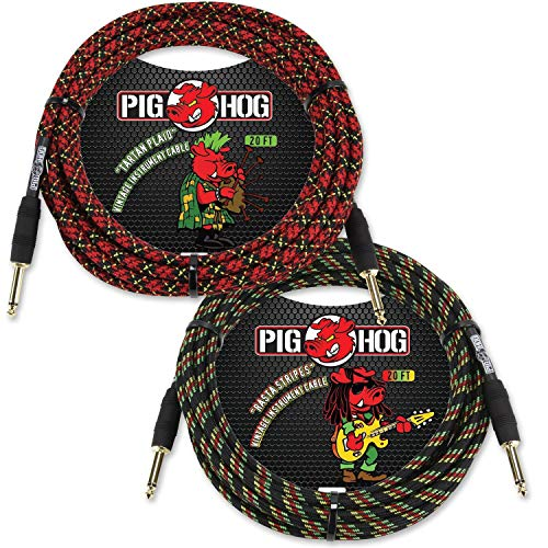 Pig Hog PCH20RA & PCH20PL Vintage Instrument Cables in Rasta Stripes & Tartan Plaid - 20 ft
