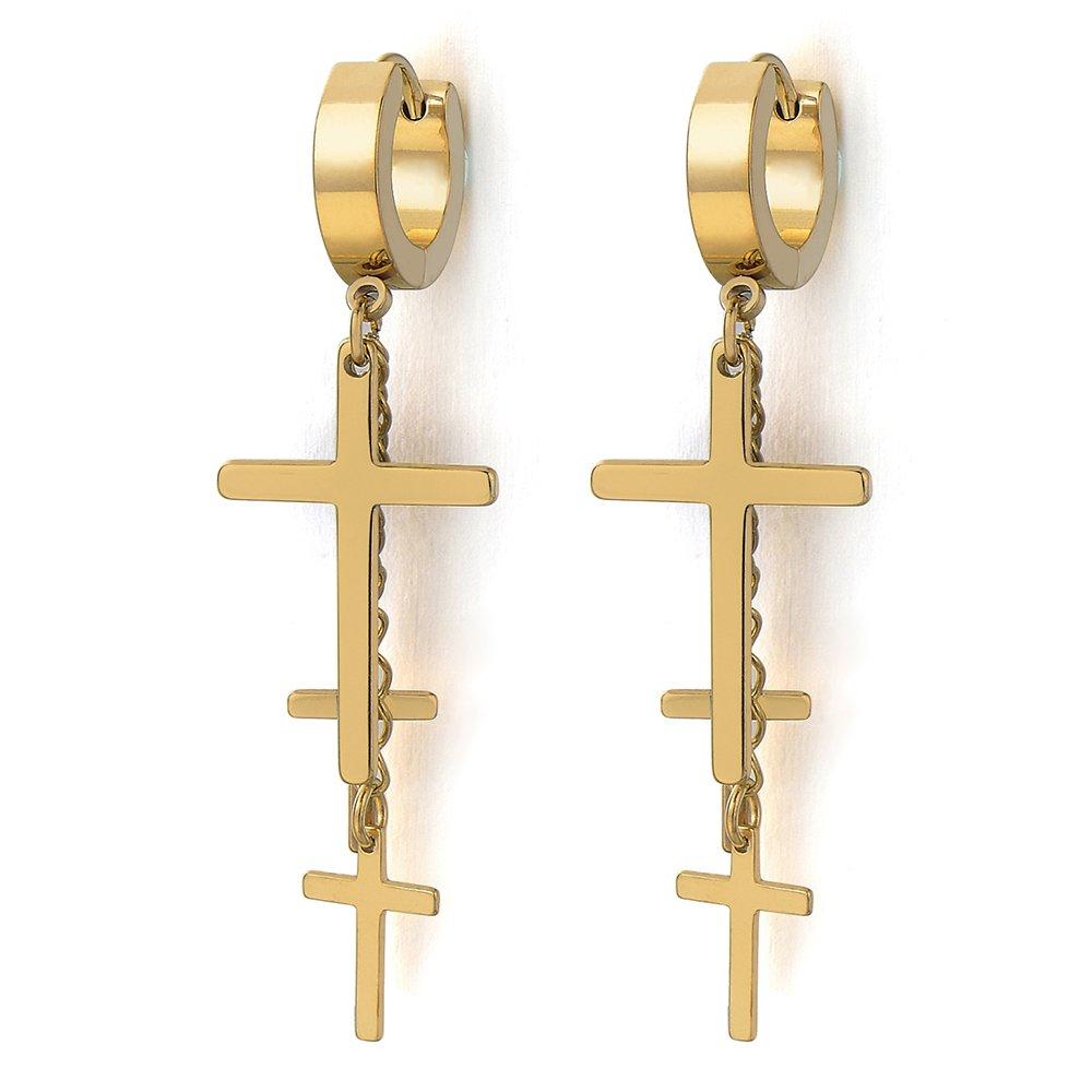 Acciaio Inossidabile Orecchini da Uomo Donna 2 Orecchini a Cerchio con Lunga Pendenti Croce
