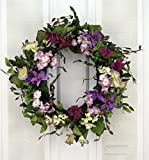 Summer Twilight Pink and Purple Wildflower Mix Silk Floral Wreath for Front Door Indoor Outdoor Summer Decor For Sale
