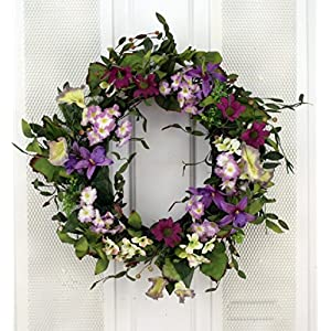 Summer Twilight Pink and Purple Wildflower Mix Silk Floral Wreath for Front Door Indoor Outdoor Summer Decor 58