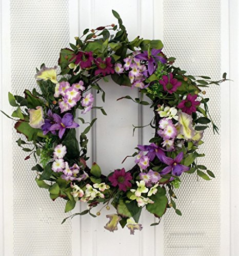 Summer Twilight Pink and Purple Wildflower Mix Silk Floral Wreath for Front Door Indoor Outdoor Summer Decor For Sale