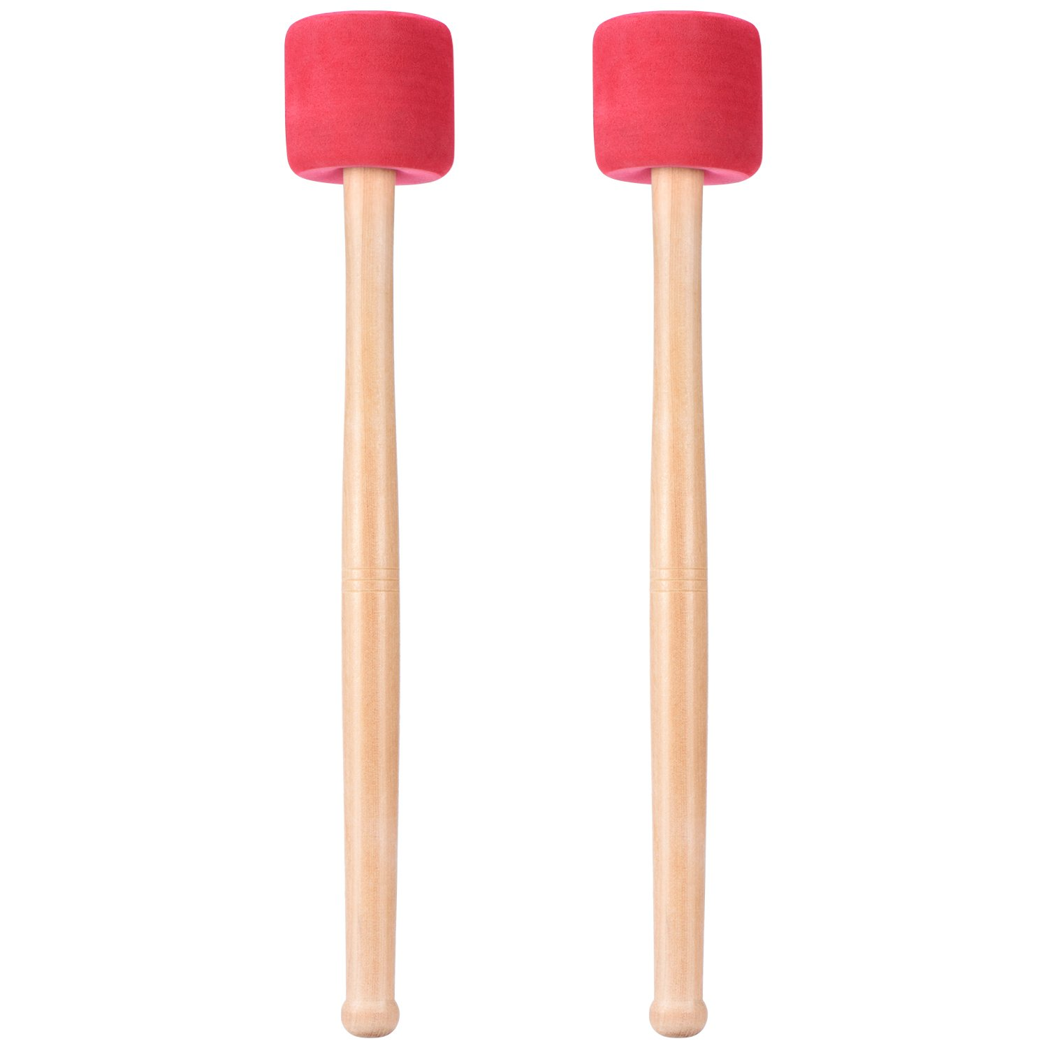 Canomo Bass Drum Mallets Sticks Red Foam Mallet with Wood Handle for Percussion Bass Drum, 13 Inch