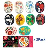 Nathalie Lete Stickers 60Pack Decorative Sealing Sticker Tag Colorful Flower for Wedding Anniversary Gift or Birthday thank you Envelopes