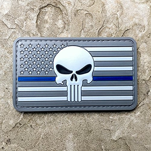 g and Punisher PVC Rubber Morale Patch - Military and Airsoft Morale Patch Hook Backed By NEO Tactical Gear (Subdued Thin Blue Line) (Swiss Army American Flag)