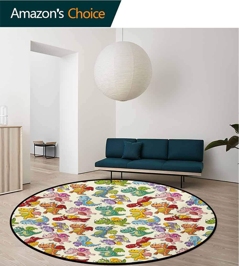 RUGSMAT Children Anti-Skid Area Rug,Baby Loving Cute Dangerous Happy Dinasours in Rainbow Colored Nursery Kids Print Green Soft Area Rugs,Diameter-59 Inch Multicolor