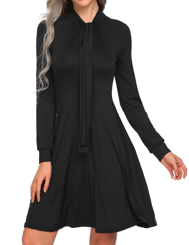 Black SE MIU Women Long Sleeve High Waist Solid Pleated Aline Tie Bow Swing Midi Dress