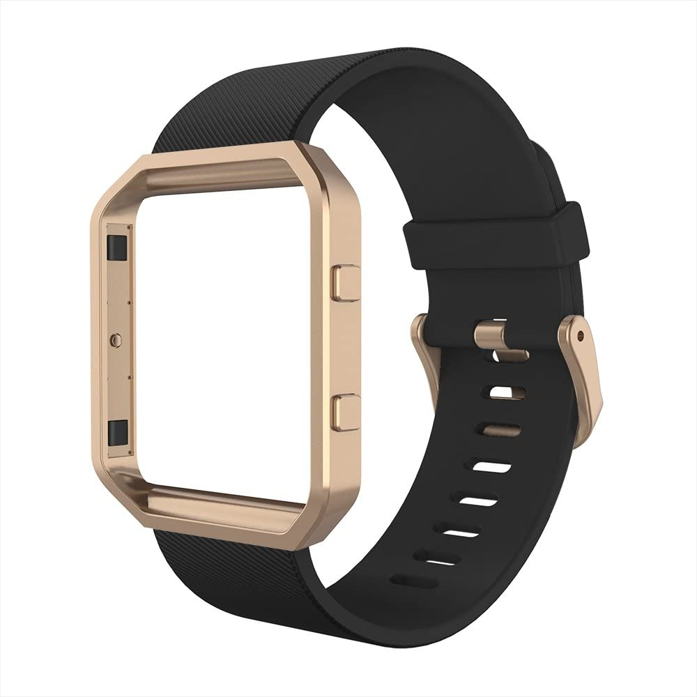 Simpeak Sport Band Compatible with Fitbit Blaze Smartwatch Sport Fitness, Silicone Wrist Band with Meatl Frame Replacement for Fitbit Blaze Men Women, Large, Black+Rose Gold Frame