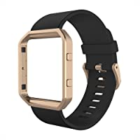 Simpeak Band Compatible with Fit bit Blaze, Silicone Replacement Wrist Strap with Meatl Frame Replacement for Fit bit Blaze, Small, Black+Rose Gold Frame