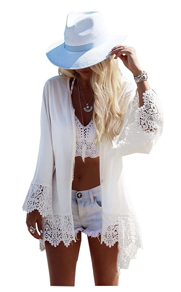 Hycurey Women Beach Kimono Cardigan Coat Floral Printed Chiffon Blouse Top Cover-ZS-007-White-Free