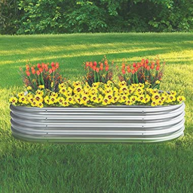 Kotulas Galvanized Steel Oval Raised Garden Bed — 6ft. x 3ft. x12in.