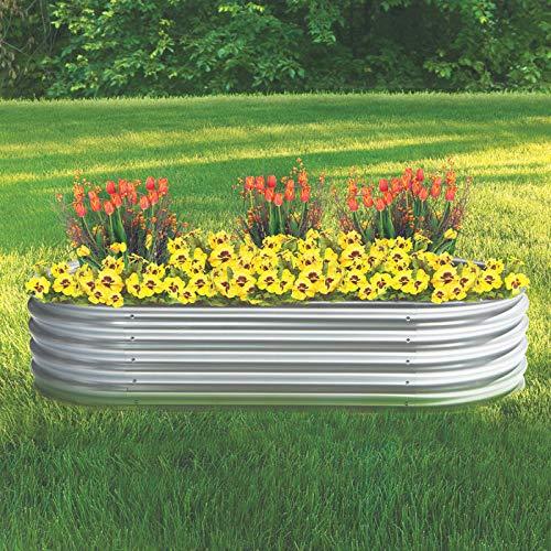 Kotulas Galvanized Steel Oval Raised Garden Bed — 6ft. x 3ft. x12in.