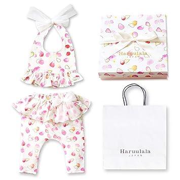 7418cdae6a303 Haruulala Japan(ハルウララ) 出産祝い 女の子 オーガニックベビー服2点セット (スタイ+