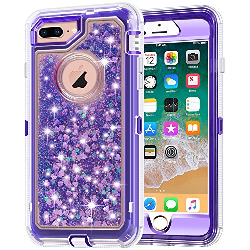 Plastic Hard Bling Case (iPhone 8 Plus Case, iPhone 7 Plus Case, Anuck 3 in 1 Hybrid Heavy Duty Defender Case Sparkly Floating Liquid Glitter Protective Hard Shell Shockproof TPU Cover for iPhone 7 Plus/8 Plus - Purple)