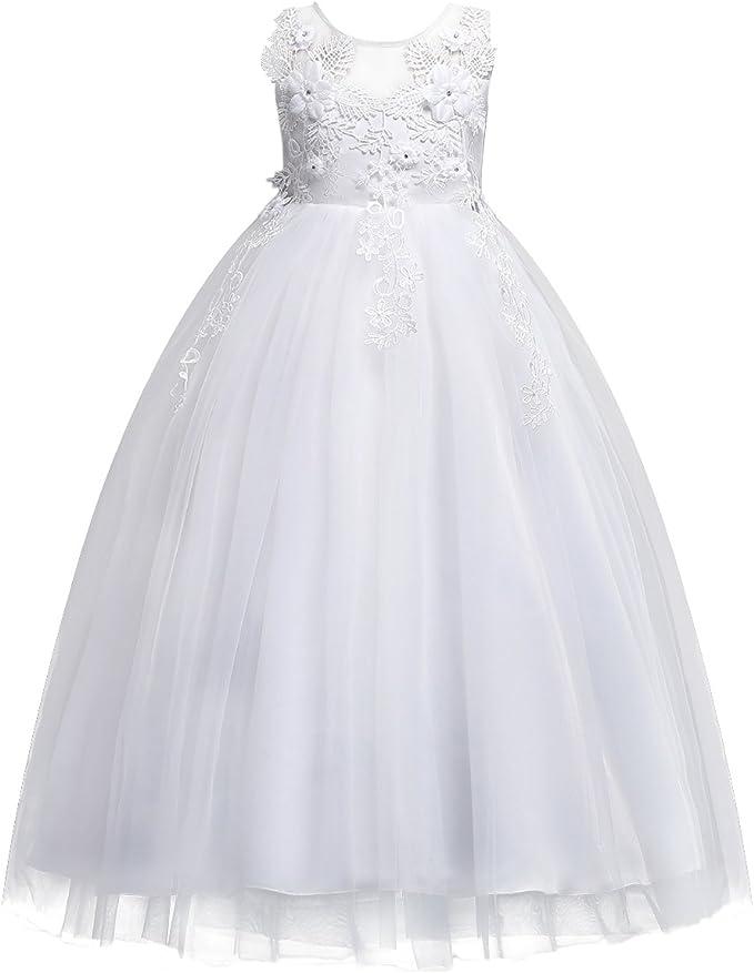 FYMNSI Niñas Vestido de Princesa Elegante Sin Mangas Bordado de ...
