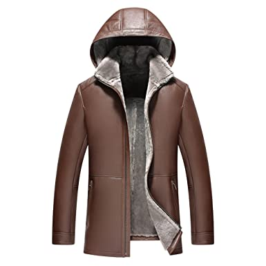 18479598153f LINAILIN Men s Shearling Jacket Genuine Leather Luxury Slim Hooded Coat  Long Outerwear at Amazon Men s Clothing store