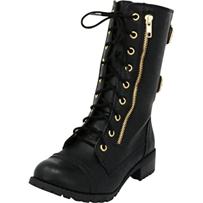 Cambridge Select Women's Round Toe Lace-Up Buckle Zipper Chunky Heel Combat Boot: Shoes