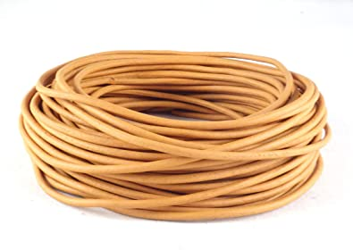 Tan Natural Dye Round Leather Cord 2mm 100 meters 109 yards