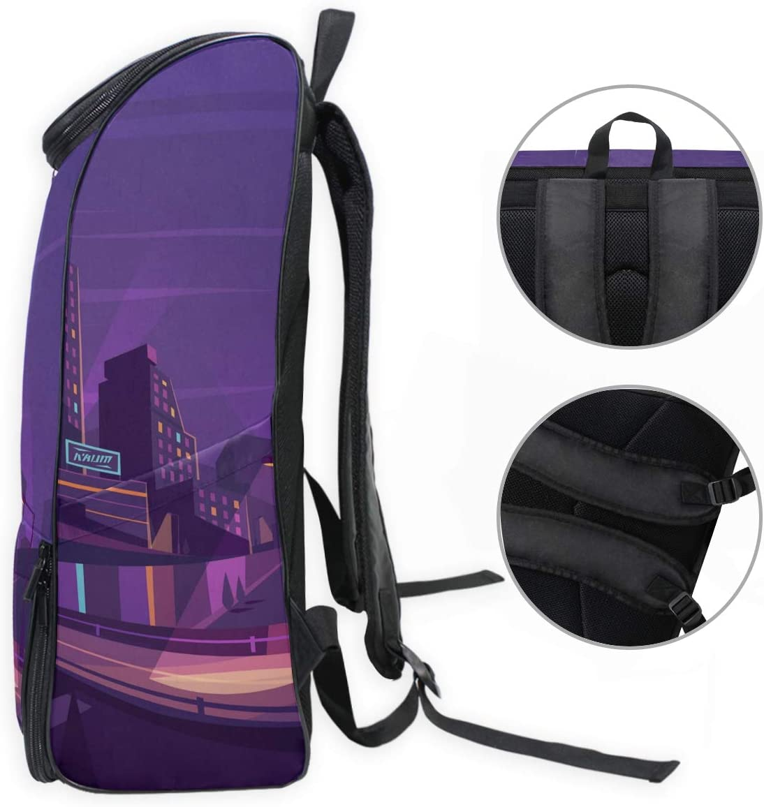 FANTAZIO Travel Laptop Backpack Flourishing City Night Durable College School Computer Bookbag for Outdoor Camping Fits Up to Notebook