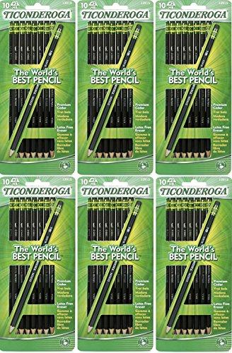Dixon Ticonderoga Wood-Cased #2 Pencils, Pre-Sharpened, Pack of 60, Black (13915) (60)